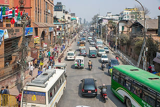 Traffic on one of the main streets in Kathmandu, Nepal