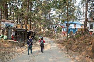 Women walking in the streets of Nagarkot, Nepal