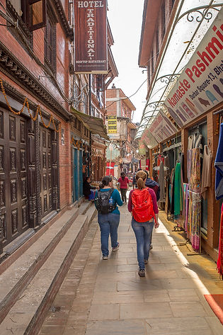 Narrow streets and shops in Bhaktaur, Nepal