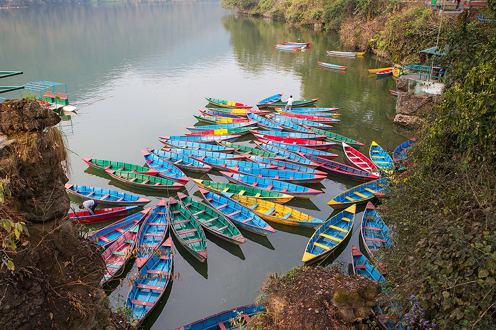 Colourful Boats on Phewa Lake in Pokhara, Nepal