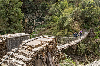 Suspension bridge from Swanta to Paudwar, Annapurna-Dhaulagiri Community Trail, Nepal