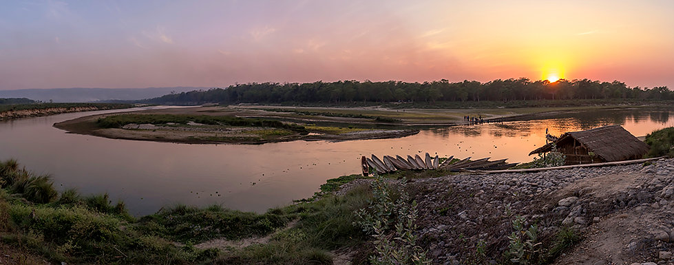 Rapti river view of Chitwan National Park from Sauraha, Nepal at sunset