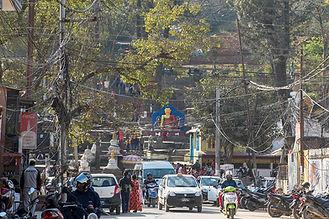 Road leading to Swayambhunath Temple, Kathmandu, Nepal