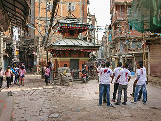 Crowd during Holi – festival of colours in Thamel Kathmandu Nepal