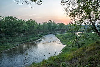 Rapti river flowing through the jungle in Sauraha, Nepal