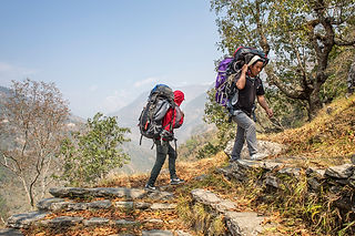 Porters carrying bags, from Ghumaune Tal to Banskharka, Annapurna - Dhaulagiri Community Eco Trail, Nepal