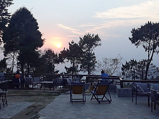 Terrace at the Hotel at the End of the Universe at Sunset in Nagarkot, Nepal