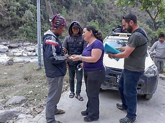 Saying goodbye to Bam Purja Pun and Gam Paiga Pun, in Tatopani, Annapurna-Dhaulagiri Community Trail, Nepal