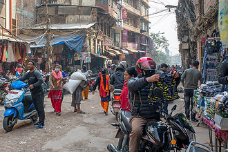 Local shopping area, people on the streets and shopping in Kathmandu, Nepal