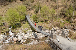 Suspension bridge, Trekking from Danda Kharka to Swanta, Annapurna-Dhaulagiri Community Trail, Nepal