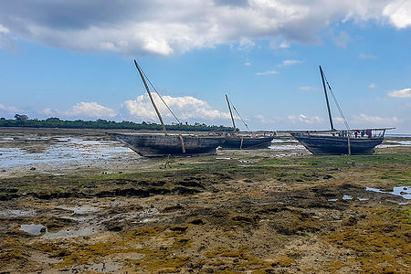 Three traditional boats in low tide at the fishing village, Kigunda, Zanzibar, Tanzania | Shots and Tales