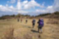 People trekking from Mohare Danda to Danda Kharka, Annapurna-Dhaulagiri Community Trail, Nepal