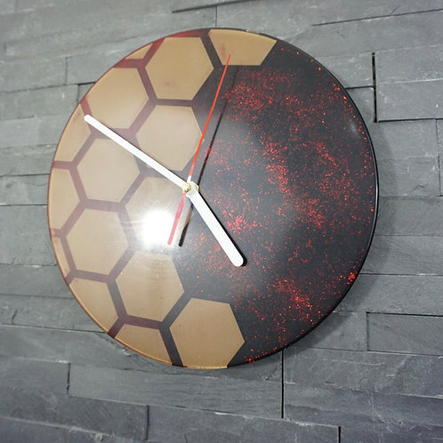 Metallic Red Hexagon Resin Clock
