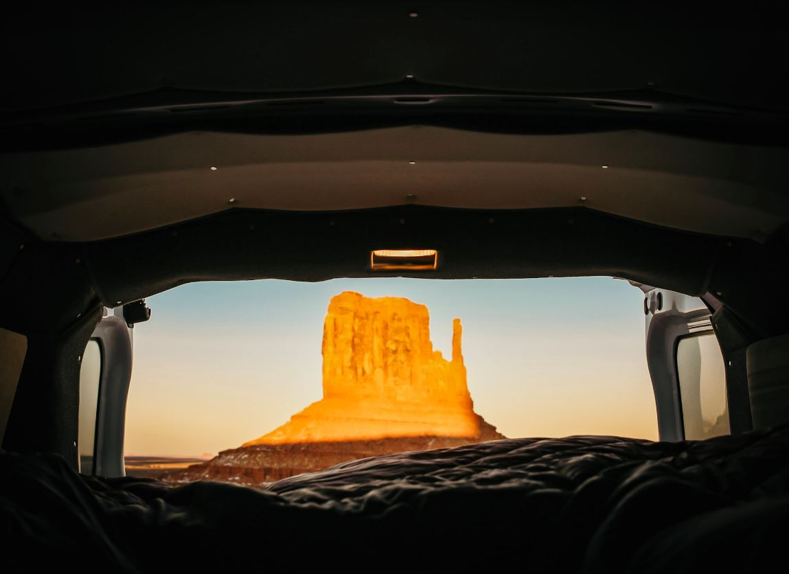 van bed view sunrise