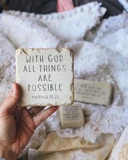 a new shipment of scripture stones has j