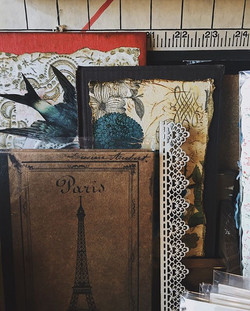 book covers, wooden trim and vintage pho