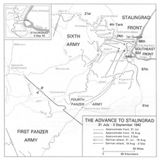 A map of the Sixth Army advancing towards Stalingrad