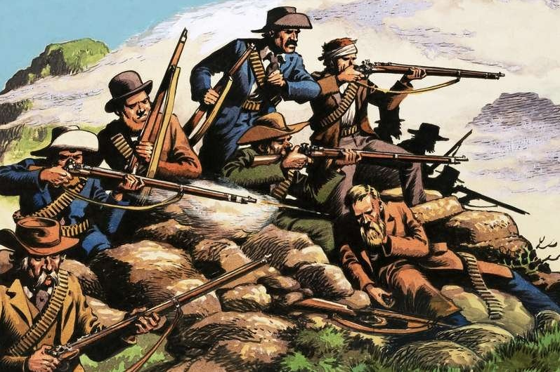 Painting of Boers in action