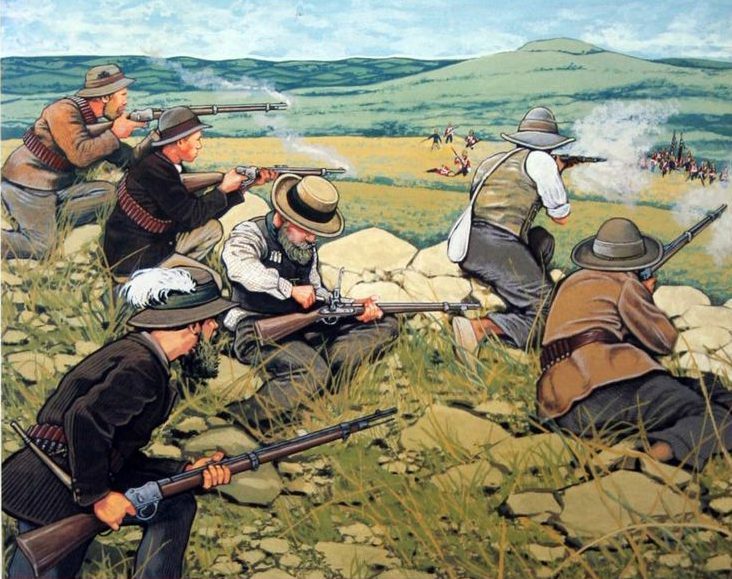 Boers firing on British redcoats