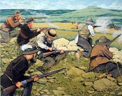 Boers firing on British redcoats