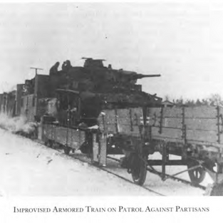 An armoured train protected against partisan bombings