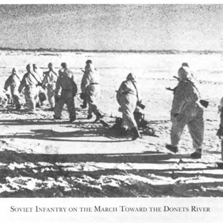 Soviet troops crossing the Donets River