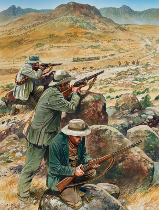 Boers firing on a train