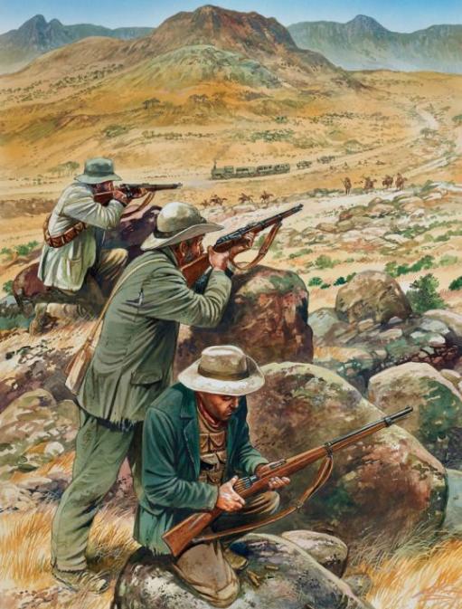 Boers firing on a train