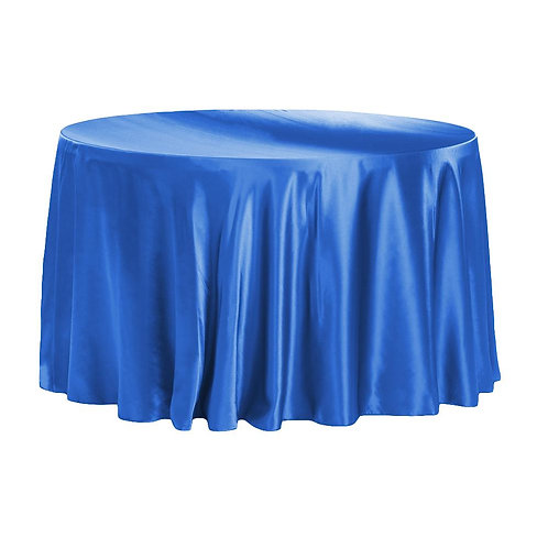 """120""""  Royal Blue Satin  Round Tablecloth - In House Rental"""