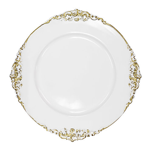 Vintage Round Charger Plate - White Gold-Trimmed - In House Rental