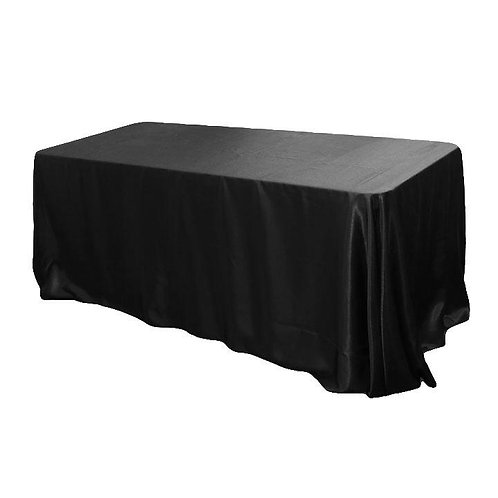"90""x156"" Rectangular Satin Tablecloth - Black -- In House Rental"