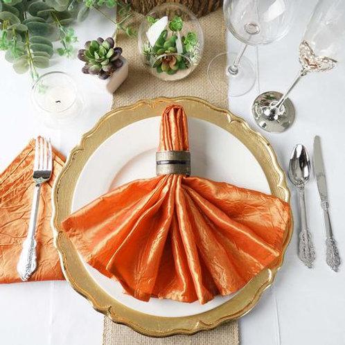 """(5) 20""""x 20"""" Orange Crinkle Crushed Taffeta Napkins - In House Rental"""