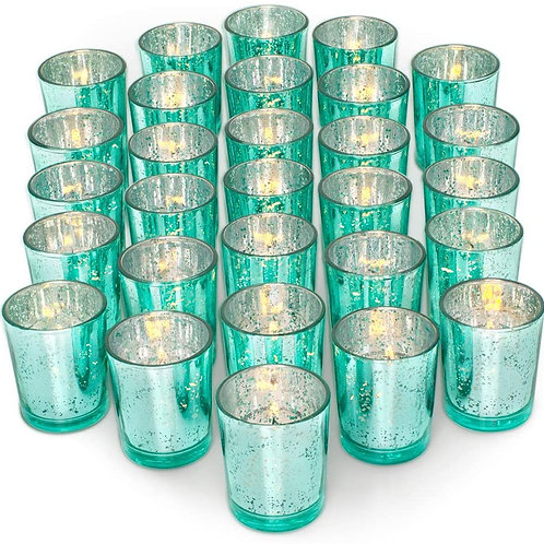 12 - Small Candle holders - Teal - In House Rental