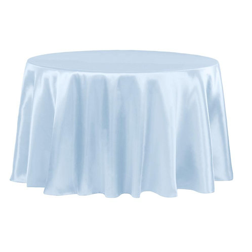 "Satin 120"" Round Tablecloth - Baby Blue - In House Rental"