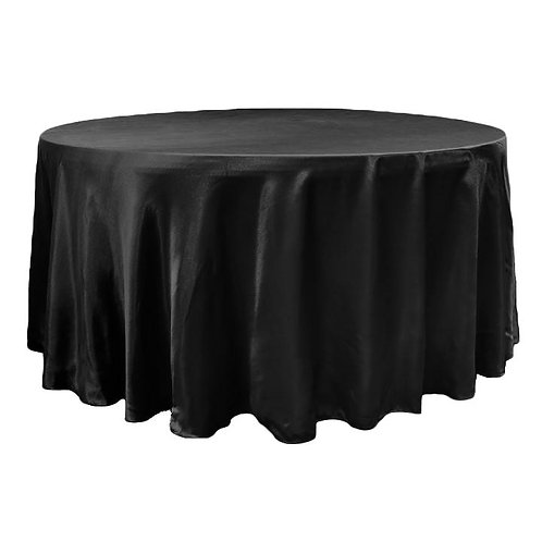 "Satin 120"" Round Tablecloth - Black - In House Rental"