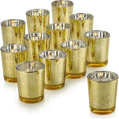 12 - Small Candle holders - Gold - In House Rental