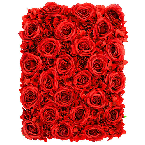 Silk Roses/Hydrangeas Flower Wall Backdrop Panel - Red - In House Rental