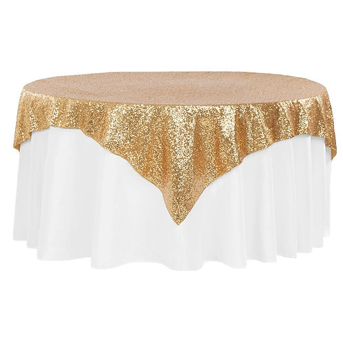 "Glitz Sequin Table Overlay Topper 72""x 72"" Square - Gold- In House R"