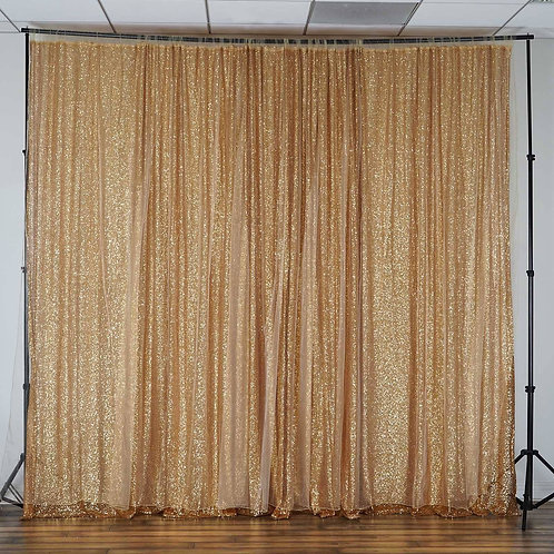 20Ft x 10Ft Gold Sequin Backdrop Curtain Double Layered - In House Rental