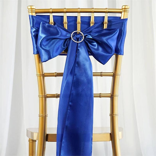 "(5) 6""x106"" Blue Satin Chair Sash- In House Rental"