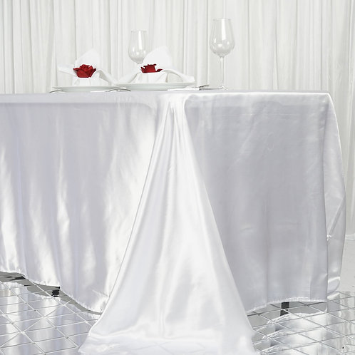 "90x156"" White Satin Rectangular Tablecloth - In House Rental"