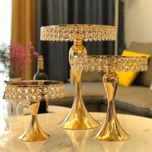 Set of 3 Gold Crystal Dessert Stands   - In House Rental