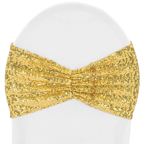 Glitz Ruffle Sequin Spandex Chair Band Sash - Gold - In House Rental