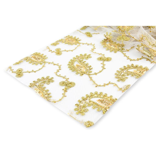 Paisley Sequin Table Runner - Gold - In House Rental