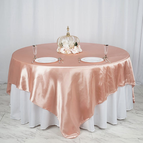 "90"" Dusty Rose Satin Overlay  - In House Rental"