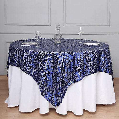 "72"" x 72"" Navy Blue Premium Big Payette Sequin Overlay - In House Rental"