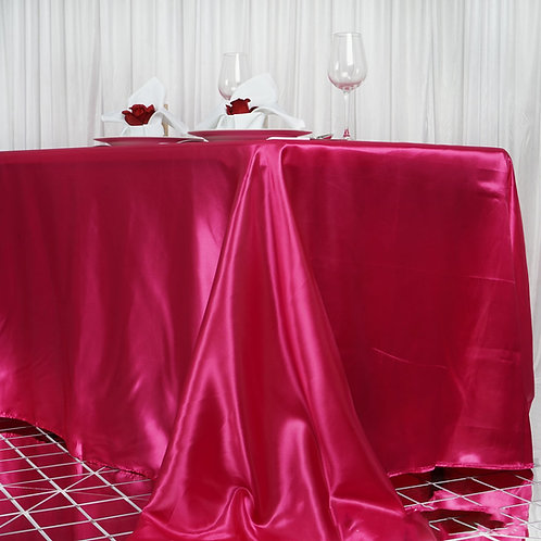 "90x156"" Fuschia Satin Rectangular Tablecloth- In House Rental"