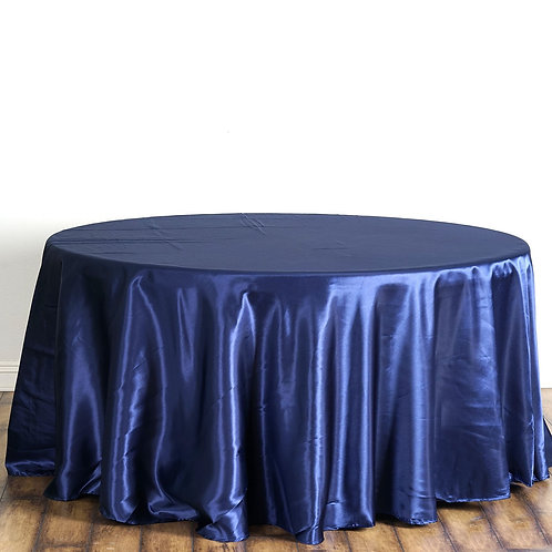 "120"" Navy Blue Satin  Round Tablecloth - In House Rental"