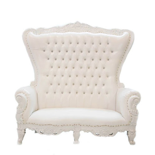 Double Seater White Throne Chair - In House Rental