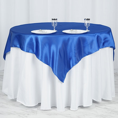 """60""""x 60"""" Royal Blue Seamless Satin Square Tablecloth Overlay  - In House Rental"""